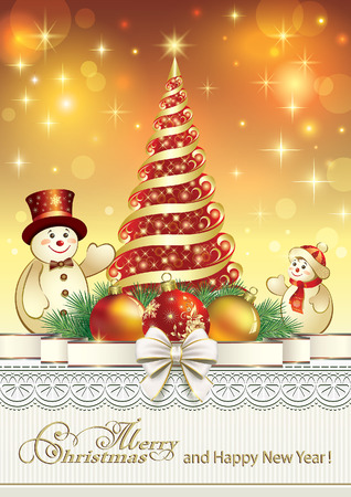 Happy New Year with Christmas tree and snowman
