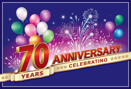 70 years: Anniversary 70 years with fireworks and balloons Illustration