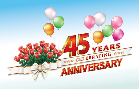 Anniversary 45 years with flowers and balloons