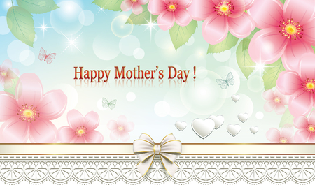 40: Greeting card with flowers and ornaments for Mothers Day Illustration