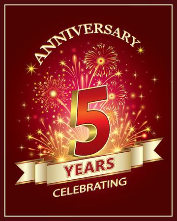 Anniversary card 5 years old with fireworks on claret background Stok Fotoğraf - 77539702