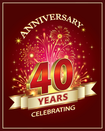 Anniversary card 40 years old with fireworks on claret background Çizim