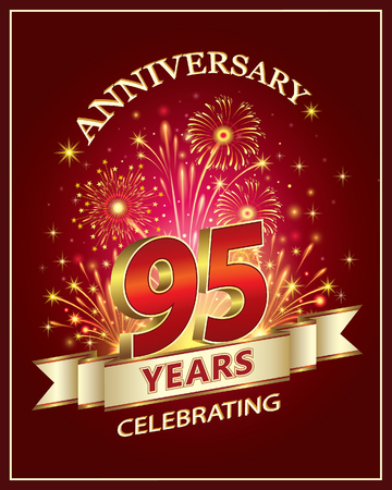 Anniversary card 95 years old with fireworks on claret background Stok Fotoğraf - 77452492