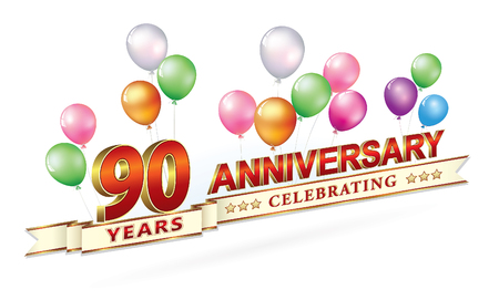 Anniversary postcard 90 years on a light background with balloons Illustration