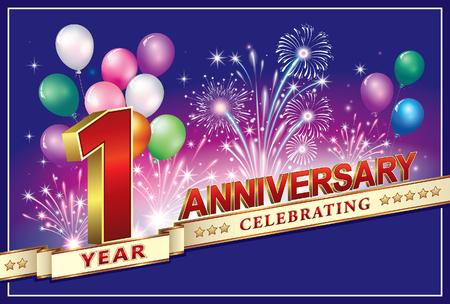 thanksgiving day symbol: Anniversario 1 anno Vettoriali