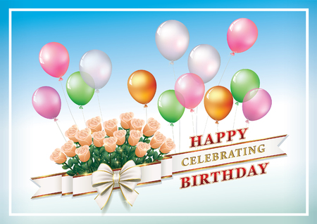 Greeting card with a bouquet of roses and balloons for Birthday.