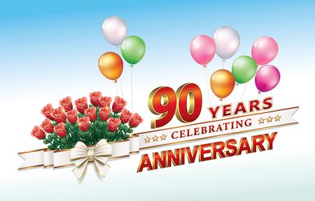 Anniversary card 90 years Illustration