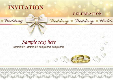 結婚式の招待状リングと背景の心で弓とリボン 写真素材 - 80343210