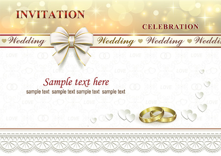 Wedding invitation with rings and ribbon with bow on a background with hearts