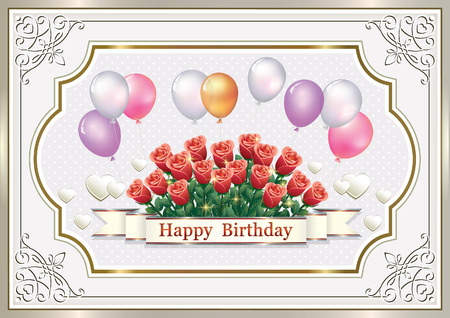 numbers background: Greeting card with flowers, ornament and balloons on Birthday Illustration