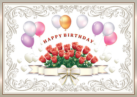 silver: Happy Birthday. Greeting card with flowers, balloons and decorative bow