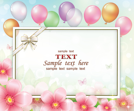 Greeting card with flowers, balloons and sheet of paper. Vector illustration.