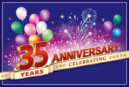 Anniversary card 35 years old with fireworks and balloons Stok Fotoğraf - 80787557