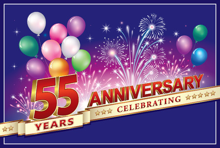 Anniversary card 55 years old with fireworks and balloons Stok Fotoğraf - 80787562
