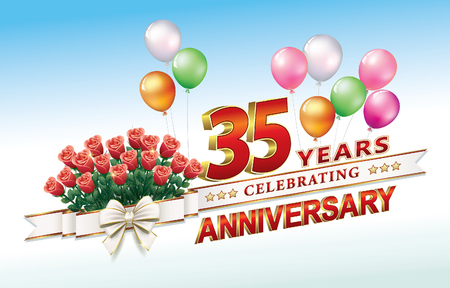 Anniversary postcard 35 years old with a bouquet of roses and balloons. Vector Illustration