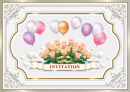 aria: Wedding invitation with a bouquet of roses and balloons