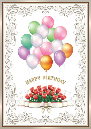 aria: Greeting card for the Birthday with a bouquet of roses and balloons.
