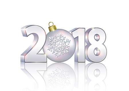 Date 2018 on a light background in 3d format with a ball. Stock fotó - 82329535