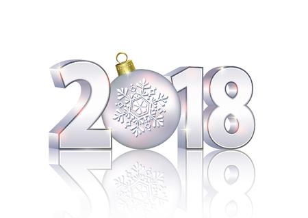 Date 2018 sur fond clair en format 3d avec une balle.