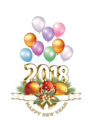 aria: 2018 Christmas card with balls and bells on the background of balloons.