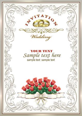 silver background: Wedding invitation