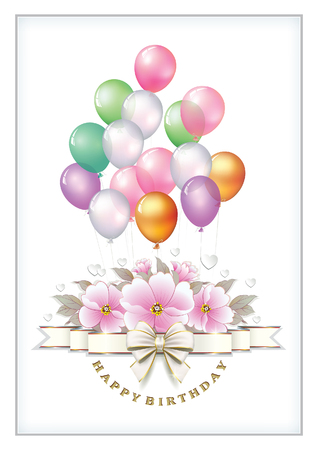 postcard: Greeting card for the Birthday with a bouquet of roses and balloons