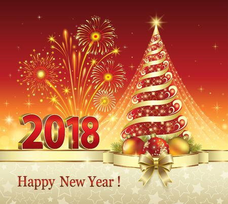 Postcard Happy New Year 2018 with a Christmas tree Illustration
