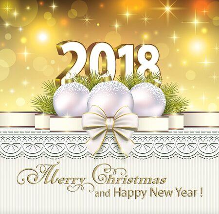Postcard Happy New Year 2018 Çizim