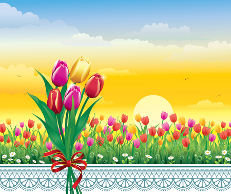 aria: Greeting card with a bouquet of tulips Illustration