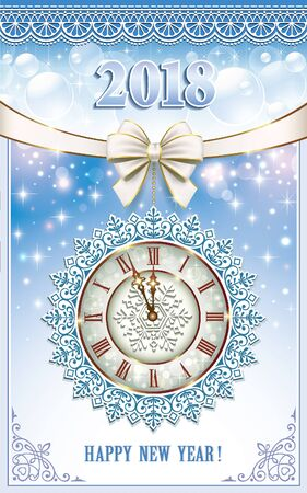 aria: Postcard Happy New Year 2018 with a clock on a blue background.