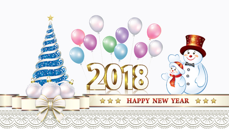 aria: Postcard Happy New Year 2018 with a Christmas tree and snowmen