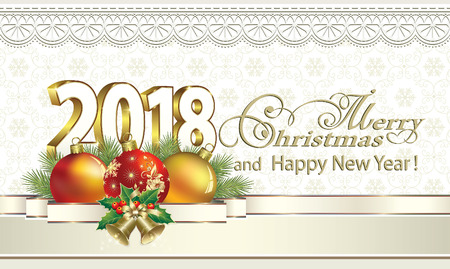3d ball: 2018 Christmas card with balls and ribbon with bells on the background of ornaments.