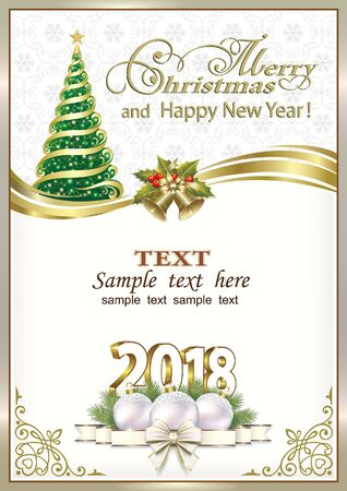 2018 Christmas card with Christmas tree and ribbon with bells