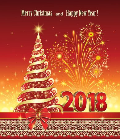 Postcard Happy New Year 2018 with a Christmas tree on a red background with fireworks. Illustration