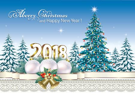 aria: 2018 Christmas card with a Christmas tree