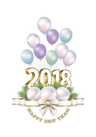 Postcard Happy New Year 2018 Illustration