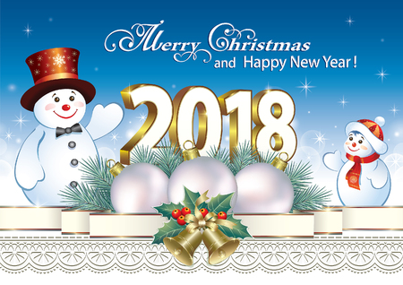 aria: Postcard Happy New Year 2018 with a snowman