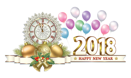 aria: Postcard Happy New Year 2018 Illustration