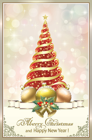 aria: Christmas tree with ball and bells Illustration