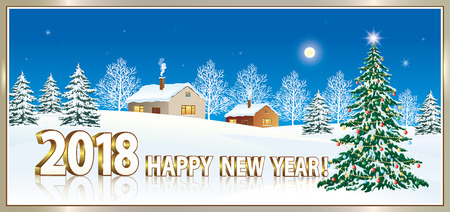 aria: Happy New Year 2018 with a Christmas tree on the background of nature