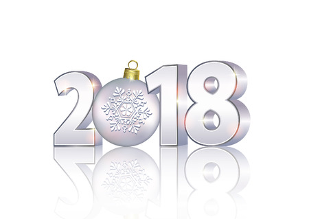 christmas greeting card: Date 2018 on a light background in 3d format with a ball