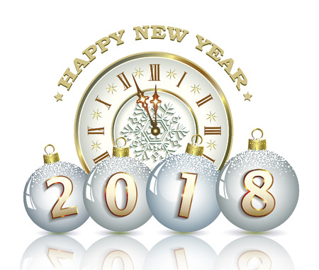 Happy New Year 2018 With Balls And Clock On A White Background ...