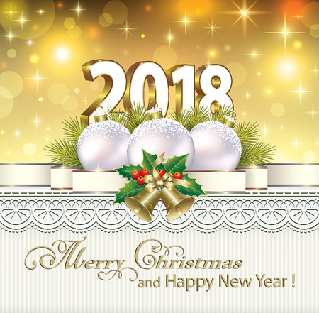 christmas greeting card: New Year of 2018 with balls and bells
