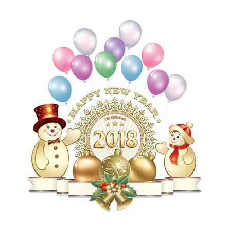aria: New Year 2018 with snowmen and Christmas balls Illustration