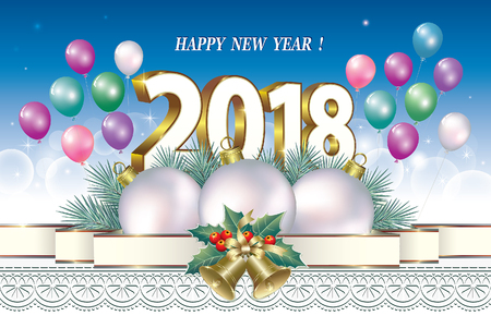 christmas greeting card: Happy New Year 2018 on the background of decorations and balloons