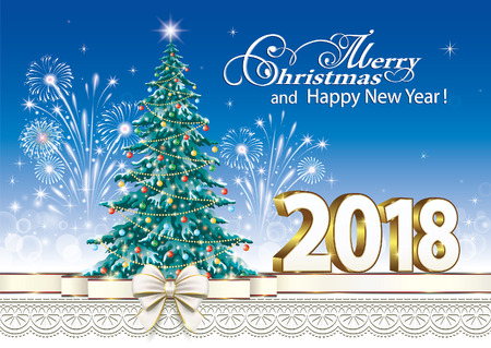 christmas greeting card: Happy New Year 2018 with a Christmas tree