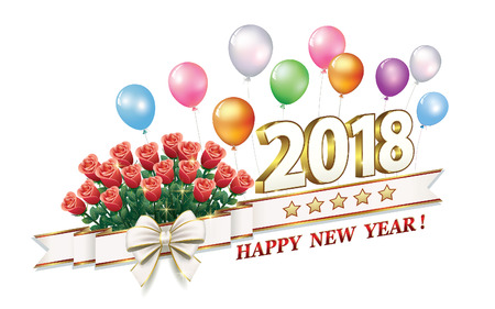 christmas greeting card: New Year 2018 in 3d format and with bells on the background of balloons