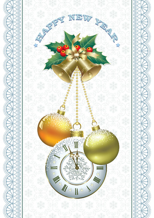 christmas greeting card: Christmas with clock, balls and bells on the background of ornaments Illustration