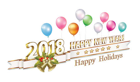 aria: Happy New Year 2018 in 3d format with bells on the background of balloons Illustration