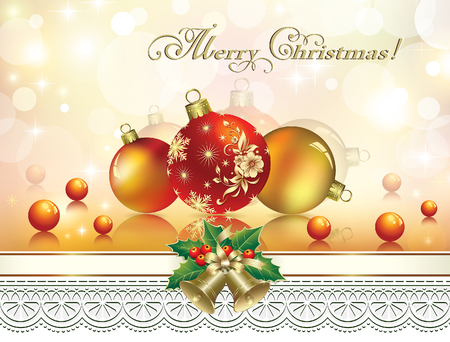 christmas greeting card: Christmas with bells and balls on a background of ornaments.